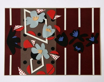 Original modern collage art: flowers and stripes