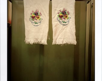 Set of 2 Hand Embroidered Pansy Hand Towels