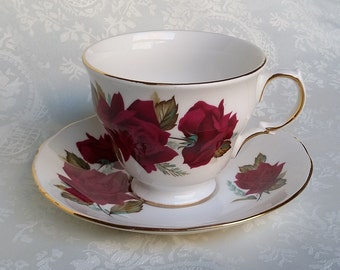 English Vintage Rose Tea Cup and Saucer, Royal Vale Bone China Tea Cup Display, Bloody Roses Tea Cup, England