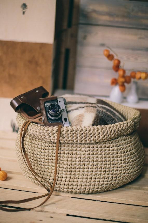 Laundry basket/Handmade basket/Toy storage/Storage basket/Crochet storage basket/Crochet rope basket/Yarn Basket/Home storage