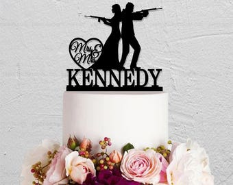 Gun Wedding Cake Topper,Rifle Cake Topper,Bride And Groom Cake Topper,Rustic Cake Topper,Custom Cake Topper,Last Name Cake Topper