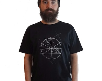 Screen Print Tshirt - Geometric T-shirt - mens grunge t shirt - black indie t shirt - S / M / L
