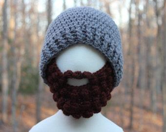 Beard Hat Grey Hat Brown Beard Crochet Beard Beanie Hat Beard Hat With Detachable Beard