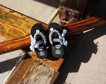 Handmade kawaii Teddy Bear Flip Flops, Miami Black and White Stripe Flip Flops, Casual Flip Flops, Girl sandals, tropical footwear