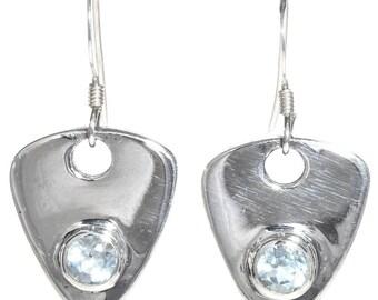 Aquamarine Silver Dangle Earrings French Hooks