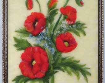 """Needle felted painting """"Poppies"""""""