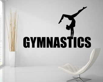 Gymnastics Wall Decal Sports Wall Decal Gymnastic Decal Girls Room Decor Gymnastic  Wall Art Gym Vinyl Wall Decal Sticker