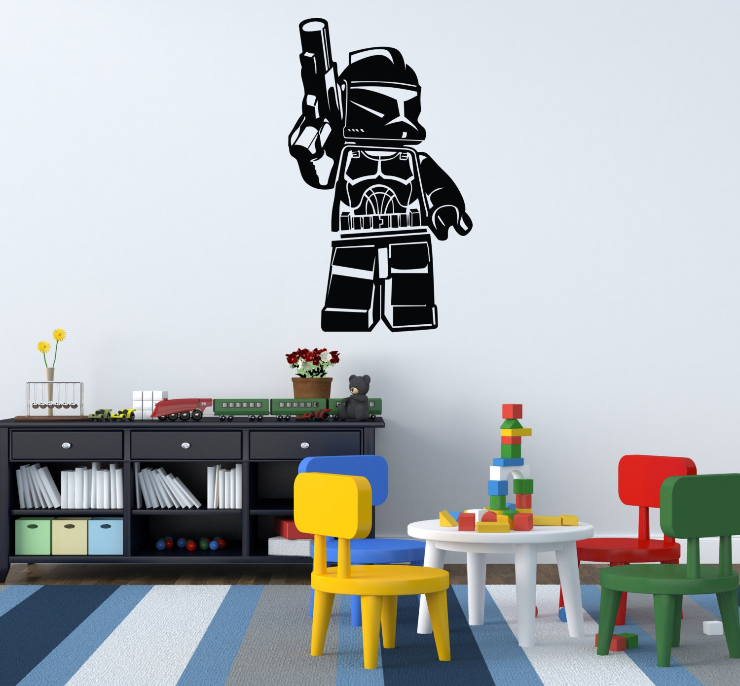 Lego Wallpaper For Bedroom Walls Lego Wall Decal Etsy