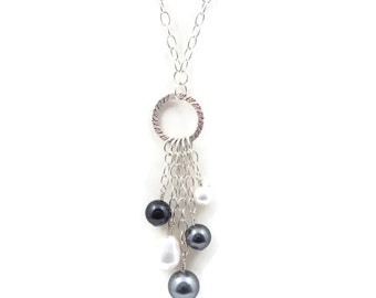 """Necklace, Grey, Black and White Swarovski Pearls and Sterling Silver Chain, 18"""""""