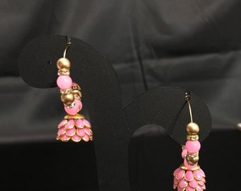 Light Pink Jhumki Earrings - Indian Jewelry - Indian Bridal Jewelry - Indian Earrings - Kundan Jewelry - Pakistani Earrings - Desi Jewelry -