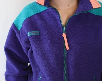 90s Color Block COLUMBIA Fleece // Neon Vaporwave Columbia Fleece //  Vintage Color Block Columbia Zip Up