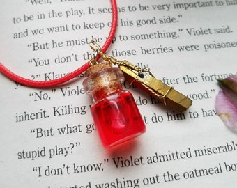 Health Potion Necklace w/ Gold Quartz
