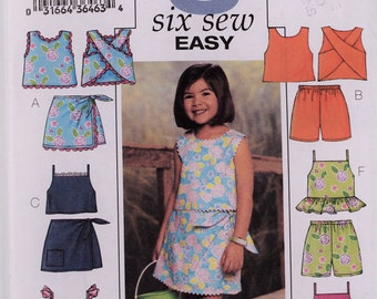 Butterick sewing pattern 3832 - Girls' top, skort and shorts