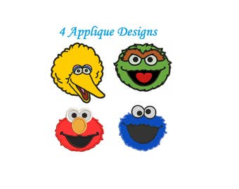 Elmo Applique Embroidery Design - 4 figures instant download