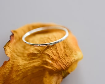 Hammered skinny sterling silver ring, stackable skinny silver ring