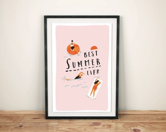 Travel retro poster. Digital Download  summertime print. 12 x 18, 8 x 12 wall art prints. Printable poster collection.