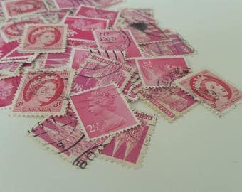 Used Pink Queen Stamps / Pink Vintage Postage Stamps