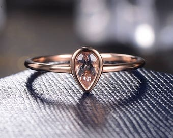 Morganite Engagement Ring Rose Gold Minimalist Wedding Women Promise Unique Pear Shaped Simple Tear Drop Anniversary Gift for Her Graduation