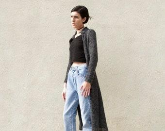 90s Vintage Minimal Grey Gauze Wool Lightweight Cardigan Sz XS