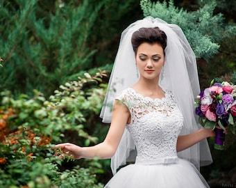Cut edge wedding veil, 3 Tier custom veil, Three tier veil, Handmade veil, Classic veil, Fingertip veil, Hip length veil, knee length veil