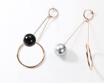 Minimalist Pearl Long Earrings (Ear clips)