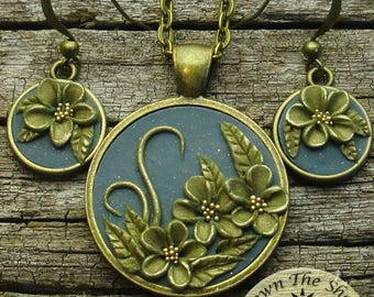 SALE!! Save 10 dollars for a limited time!!  Sara Jane bronze and blue necklace/earring set, polymer pendant by DownTheShoreDesign