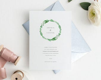 Greenery Wedding Invitation Suite Deposit - Natural Inspired, Modern Watercolour Greenery Botanical Wreath Wedding Invitations