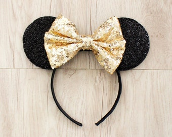Minnie Mouse Ears, Gold Disneyland Ears, Gold Sequin Bow, Mickey Mouse Ears, Minnie Ears, Mickey Ears, Disney Ears, Disney World, Disney