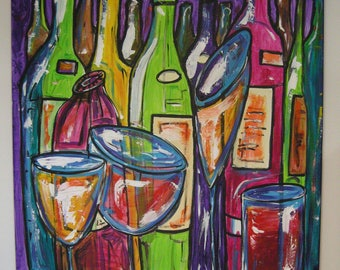 """Framework. The """"bottles."""" hand painted size 100x80"""