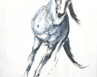 Original  Painting Large Framed Art Horse Wall Art Modern Art Black And White Vintage Decor Drawing Gift Wild, 27.5'' x 19.6''