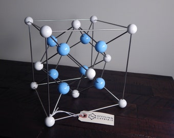 Molecular model, handmade - Fluorite crystal - science art decor - chemistry - physics - mid-century modern sculpture - geometric