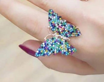 Rainbow ring , feel butterfly, best gift...