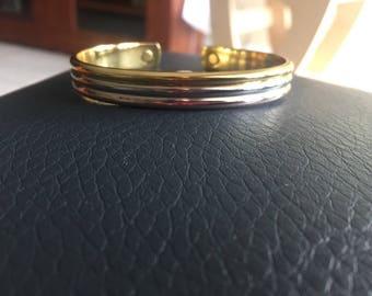 24k Electroplated Tri Color Gold Bangle Cuff Bracelet