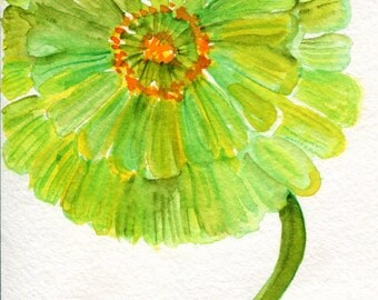 Zinnia Watercolor Painting Original, Small Lime Green Flower Art  4 x 6, original watercolor painting of lime green zinnia