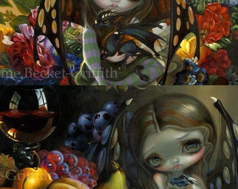 Fruit Dragonling and Flower Dragonling Set of TWO 8x10 art prints by Jasmine Becket-Griffith SIGNED