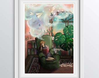 Reading illustration - library wall art - imagination through reading artwork for children's rooms - Fine art print for children