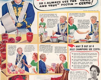 Vintage Kitchen Food AD Jelly Making Art Print Advertising Magazine AD May Robson Certo Pectin General Foods 1939 Cooking Advertisement