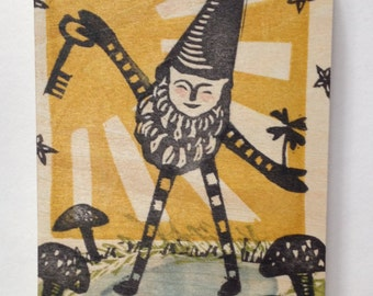 Lucky Gnome Small One of a Kind Linocut on Wood