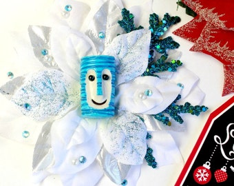 Winter Blue Tiki Bob, Tiki Christmas Hair Clip, Holiday Hair, Tiki , Pinup Christmas