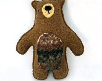 Brown Bear - Recycled Wool Sweater Plush Toy
