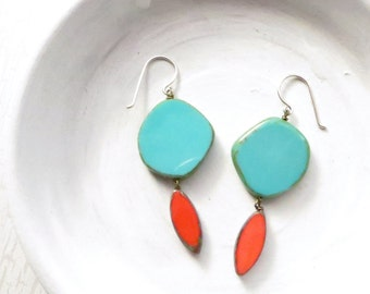 Turquoise Earrings / Statement Earrings / Colorful Earrings / Boho Earrings / Turquoise Earrings Dangle / Gift For Her / Gift Under 30