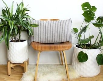 Striped Linen Lumbar Pillow, Rustic Lumbar Cushion, Farmhouse Pillows, Throw Pillow Covers, Country Boho Pillow Cover, 15x25, Bohemian Decor