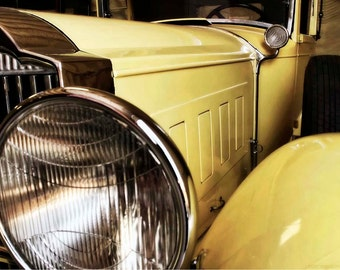 Yellow Classic Car Art Photo - Art Deco Packard 8x12 Photograph - Vintage Car Grille Abstract - Liberty Images Classic Car Art Photography