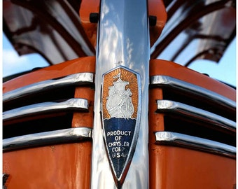 Classic Car Grille Art Photo - Orange Silver Vintage Plymouth 8x10 Wall Art Photograph - Sailing Ship Logo - Old Car Art by Liberty Images