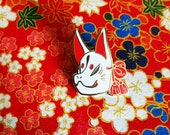 White Kitsune Mask enamel pin