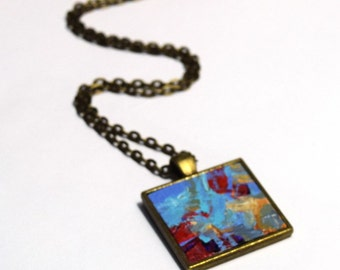 Miniature Acrylic Painting,  FREE Shipping, Abstract Painting, Blue, Red, Pendant Necklace, Original Painting, Wearable Art, Handpainted,