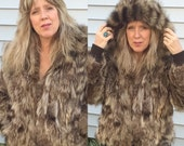 Vintage 60s/70s Fur Coat Hooded Raccoon Fur Jacket