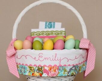 Easter Basket Liner, GIRL fits Pottery Barn Kids Baskets, Monogrammed Embroidered Easter Basket, Handmade Lilly Belle Garden