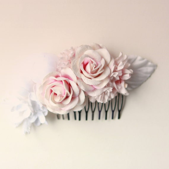 Pink rose comb, bridal hair comb, Pink and white flowers, Floral wedding hair comb, Unique bridal alternative, Spring wedding