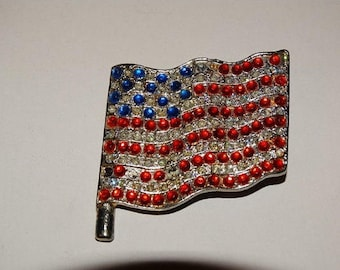 Retro 70's Rhinestone USA Flag Pin, Vintage 1970's Jewelry Brooch Old Glory Rhinestones God Bless America Patriotic Americana Patriot L